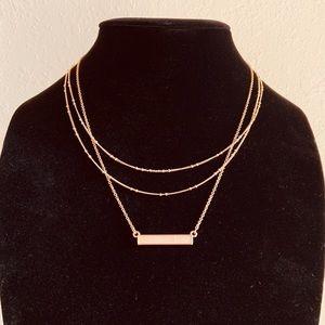 SUGARFIX Layered Necklace W/ Horizontal Blush Bar